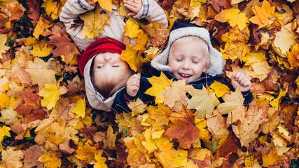 Children Enjoy in Autumn Leaves
