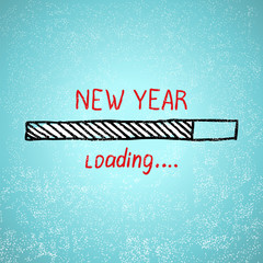 New year is loading. Holiday tamplate vector