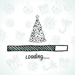 New year is loading. Christmas tree.
