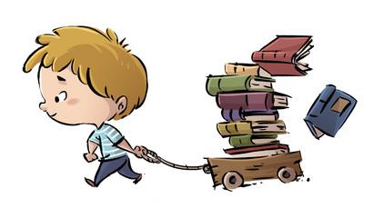 niño con muchos libros