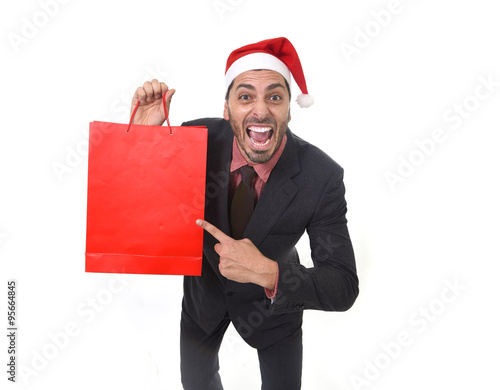 Quot funny businessman in christmas santa hat holding red