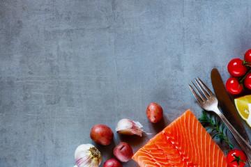 Delicious raw salmon