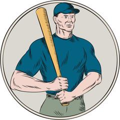 Baseball Player Batter Holding Bat Etching