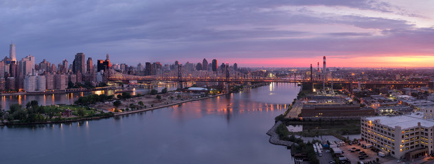 New York City at sunrise, panoramic image
