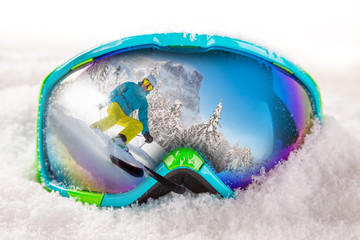 Colorful ski glasses