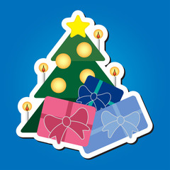 Christmas tree with star and colored gifts