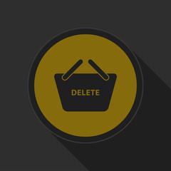dark gray and yellow icon - shopping basket delete
