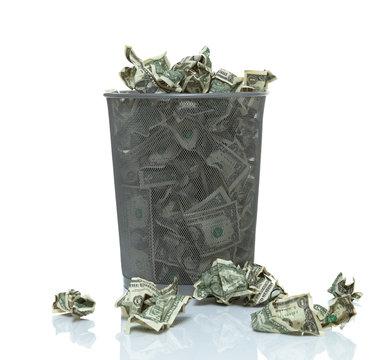 Trashcan full of money
