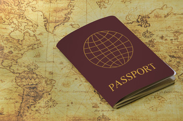 passport on a old world map