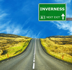 INVERNESS road sign against clear blue sky