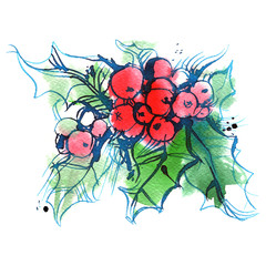 ilex, green sprig of holly with red berries on a white background, Christmas tree, spruce, watercolor sketch