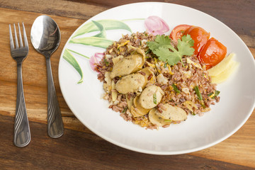 Traditional Thai Food - fired rice with fish sausage - mix Style