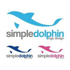 Dolphin jumping above waves Logo Design. uniqiue dolphin logo template. simple shape and color. vector. editable