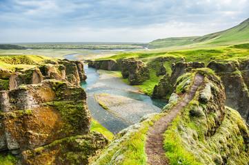 Beautiful Fjadrargljufur canyon. Southern Iceland