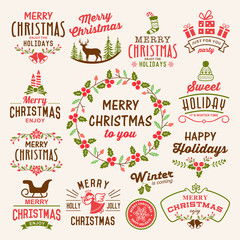 Christmas decoration icons, labels, illustration and elements set.