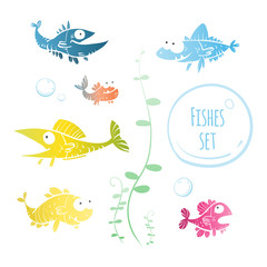 Cute cartoon fishes set  of the different sizes. Vector image.
