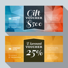 Gift and Discount Voucher Vector Design Print Template. Vector Illustration