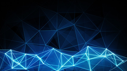 glowing blue polygon background