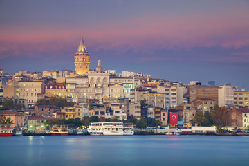 Istanbul. Image of Istanbul with Galata Tower during twilight blue hour.