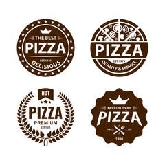 Vintage vector pizza logo, label, badge set