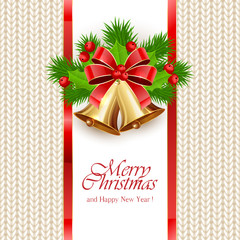 Christmas background with golden bells on knitted pattern