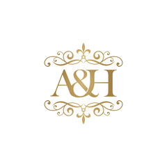 A&H Initial logo. Ornament ampersand monogram golden logo