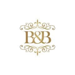 B&B Initial logo. Ornament ampersand monogram golden logo