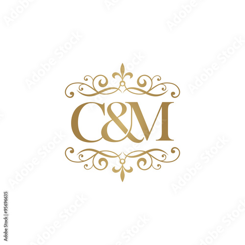 c m initial logo ornament ampersand monogram golden logo stock image and royalty free vector. Black Bedroom Furniture Sets. Home Design Ideas