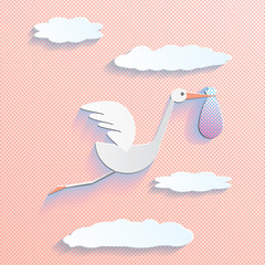 Cartoon stork flying with bag in the cartoon sky