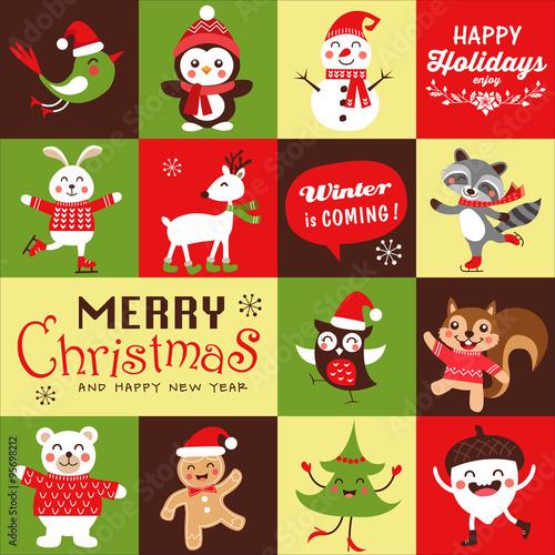 Vector Set Of Funny Cartoon Christmas Character Symbols Greeting