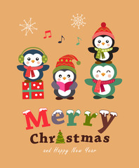 Cute penguin christmas card and poster design. Vector illustration.