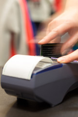 Motion of Hand With Credit Card Swipe Through Terminal For Sale