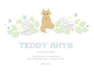 Children's birthday invitation card with a fox and nature elements. Vector design.