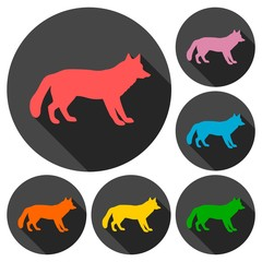 Fox icons set with long shadow
