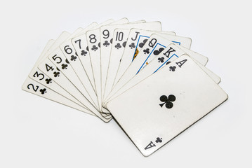 set of  playing cards clubs isolated on white background