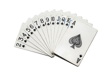 set of  playing cards spades isolated on white background. cards for poker
