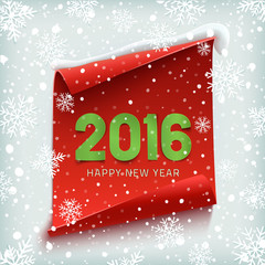 Happy New Year 2016. Paper banner.