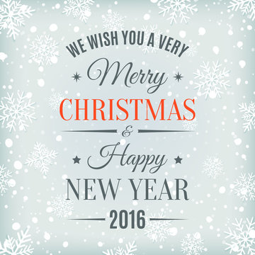 Merry Christmas and Happy New Year text label.