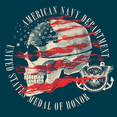 Illustration of a pirate skull with an american flag on a dark background
