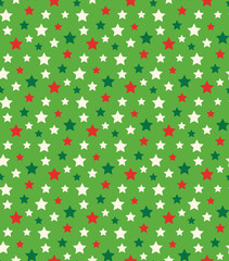 Seamless Bright Abstract Pattern with Stars in Christmas Colors