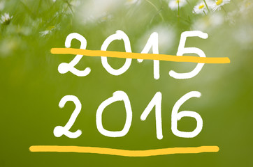 Date 2015 going to 2016 handwritten on real natural green background.