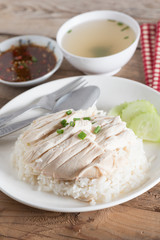 "Thai food ""Khao Man Kai"",  Rice steamed with chicken soup and sa"