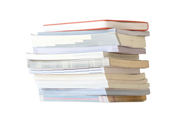 Stack of book on white background