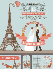 Wedding invitation.Bride, groom,Eiffel tower,autumn wreath