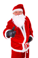 Santa Claus thumb up Closeup Portrait. Isolated on White Background
