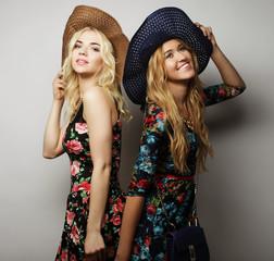 two stylish sexy girls best friends