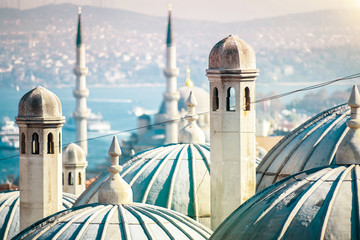Autocollant pour porte Turquie The beautiful Süleymaniye mosque in Istanbul, Turkey