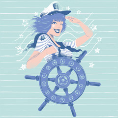 Illustration of a pin up girl doing the salute while spinning a rudder