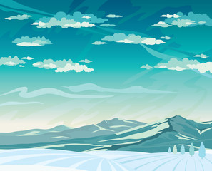 Winter landscape with mountains and snowdrift.