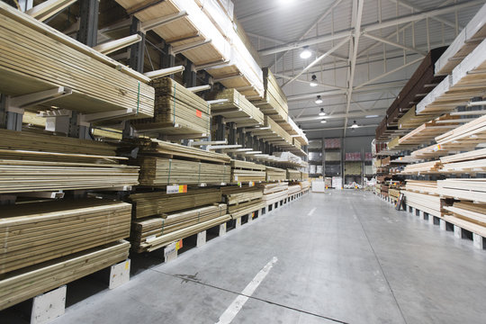 warehouse with variety of timber for construction and repair